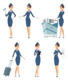stewardess Uniforme blu professionale dell'assistente di volo della donna dei personaggi dei cartoni animati d'imbarco di vettore illustrazione di stock