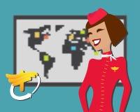 Stewardess welcomes aboard, aircompany Royalty Free Stock Photo