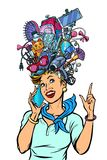 Stewardess woman dreams about gadgets stock images
