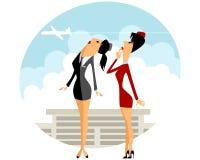 Stewardess zwei im Flughafen Stockfotografie