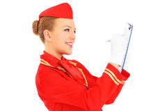 Stewardessarbetsuppgifter Royaltyfri Foto