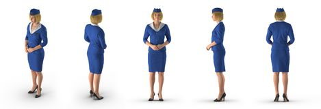 StewardessDressed In Blue likformig på vit illustration 3d stock illustrationer