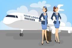 Stewardessen die zich voor het vliegtuig bevinden royalty-vrije illustratie