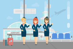 Stewardesses crew in airport. Royalty Free Stock Images