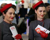 Stewardesses at National tourism fair of Romania, 2018. Royalty Free Stock Images