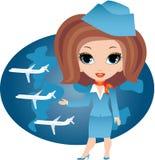 Stewardesskarikatur Stockbilder