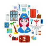 Stewardesy i podróży przedmioty ilustracja wektor