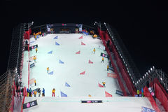 Stewards clean ramp at Snowboard World Cup Stock Images