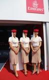 Stewards (hôtesse de l'air) de ligne aérienne d'émirats chez Billie Jean King National Tennis Center pendant l'US Open 2015 image libre de droits