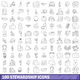 100 stewardship icons set, outline style. 100 stewardship icons set in outline style for any design vector illustration Royalty Free Stock Image