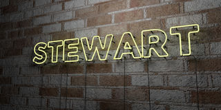 STEWART - Glowing Neon Sign on stonework wall - 3D rendered royalty free stock illustration Stock Photo