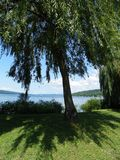 Stewart Park Ithaca view up length of Cayuga Lake. Stewart Park is a municipal park operated by the city of Ithaca, New York on the southern end of Cayuga Lake Royalty Free Stock Images
