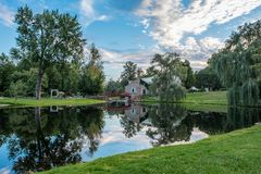 Stewart Park Reflections, Perth Ontario royalty free stock images