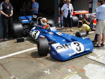Stewart's Tyrrell. 1971 tyrrell in the pits of Monza. This same car was brought to the constructor and drivers championship world titles in 1971 by Jackie Royalty Free Stock Images
