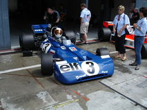 Stewart's Tyrrell. 1971 tyrrell in the pits of Monza. This same car was brought to the constructor and drivers championship world titles in 1971 by Jackie Stock Image
