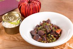 Stewed beef cheeks in red wine sauce stock photography