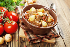 Stewed beef with onions and tomatoes, stifado Stock Image