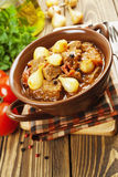 Stewed beef with onions and tomatoes, stifado Stock Photo