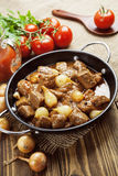 Stewed beef with onions and tomatoes, stifado Stock Photos