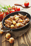 Stewed beef with onions and tomatoes, stifado Royalty Free Stock Photography