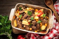 Stewed beef with pumpkin and vegetables. Royalty Free Stock Photos