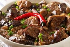 Stewed beef with wild mushrooms and chili macro. horizontal Royalty Free Stock Photos