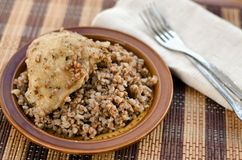 Stewed buckwheat with chicken Royalty Free Stock Images