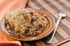 Stewed buckwheat with chicken Stock Photos