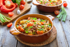 Stewed cabbafe with tomatoes and chorizo Stock Images