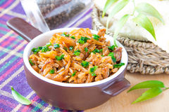 Stewed cabbage with meat. And spring onions Stock Image