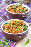 Stewed cabbage with meat. And spring onions Stock Photos