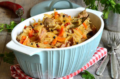 Stewed cabbage with meat. Stock Photos
