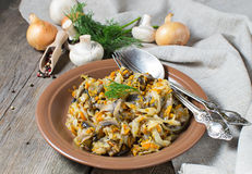 Stewed cabbage with mushrooms and carrot Stock Photography