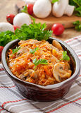Stewed cabbage with mushrooms Royalty Free Stock Photos