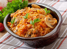 Stewed cabbage with mushrooms Stock Images