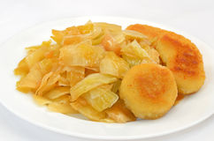 Stewed cabbage with nuggets Stock Image