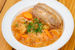Stewed cabbage with pork meat Stock Photo