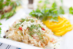 Stewed cabbage with vegetables and garlic Royalty Free Stock Images