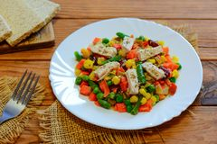 Chicken breast and mixed vegetable stew on the serving plate and the wooden table. Low-calorie chicken vegetable stew stock photo