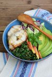 Stewed chard with apples, avocado, fish and salad of cucumbers, onions. AIP breakfast, dinner or lunch. Autoimmune Paleo. Diet hea. Lthy food concept. Cereals stock photos