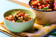 Stewed chick-pea with vegetables. vegetarian dish. Stock Image
