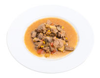 Stewed chicken liver with mushrooms and potatoes. Stock Photo