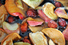 Stewed fruit - apple, pear, rose, apricots Stock Photos