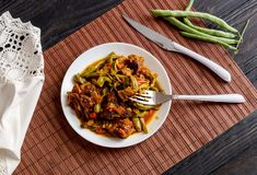 The stewed green beans and pieces of beef Royalty Free Stock Image