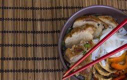 Stewed kluski z kaczką na bambusowym tle Zdjęcia Royalty Free