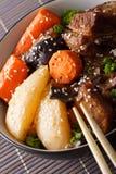 Stewed Korean Short Ribs (Kalbi Jim or Galbi jjim)macro. vertical stock photo