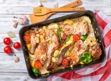 Stewed królik z warzywami, tradycyjna maltese kuchnia Zdjęcie Stock