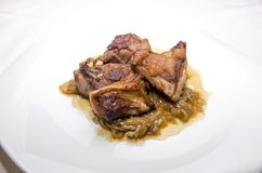 Stewed lamb meat dish with onions Stock Images