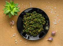 Stewed lentils with spinach. Second dish. Flat lay. The view from the top stock images