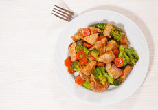 Stewed meat with broccoli and carrot Stock Photography